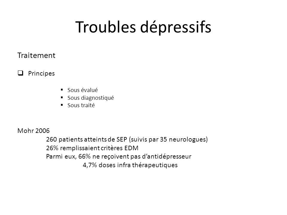 Traitement Principes Sous évalué Sous diagnostiqué Sous traité Mohr 2006 260 patients atteints de SEP (suivis par 35 neurologues) 26% remplissaient critères EDM Parmi eux, 66% ne reçoivent pas dantidépresseur 4,7% doses infra thérapeutiques Troubles dépressifs