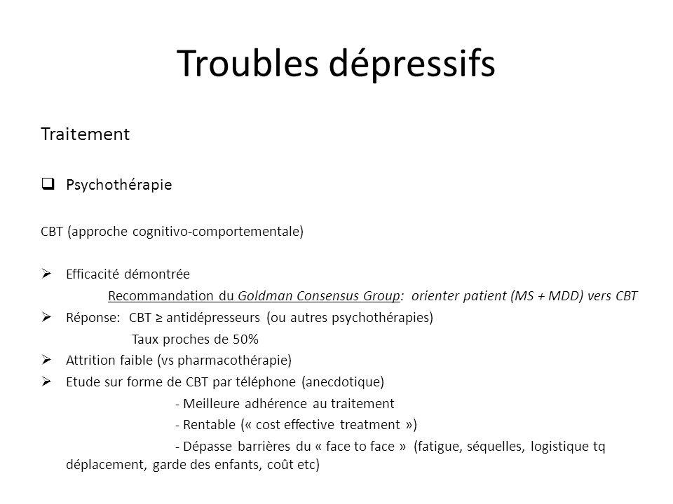 Traitement Psychothérapie CBT (approche cognitivo-comportementale) Efficacité démontrée Recommandation du Goldman Consensus Group: orienter patient (M