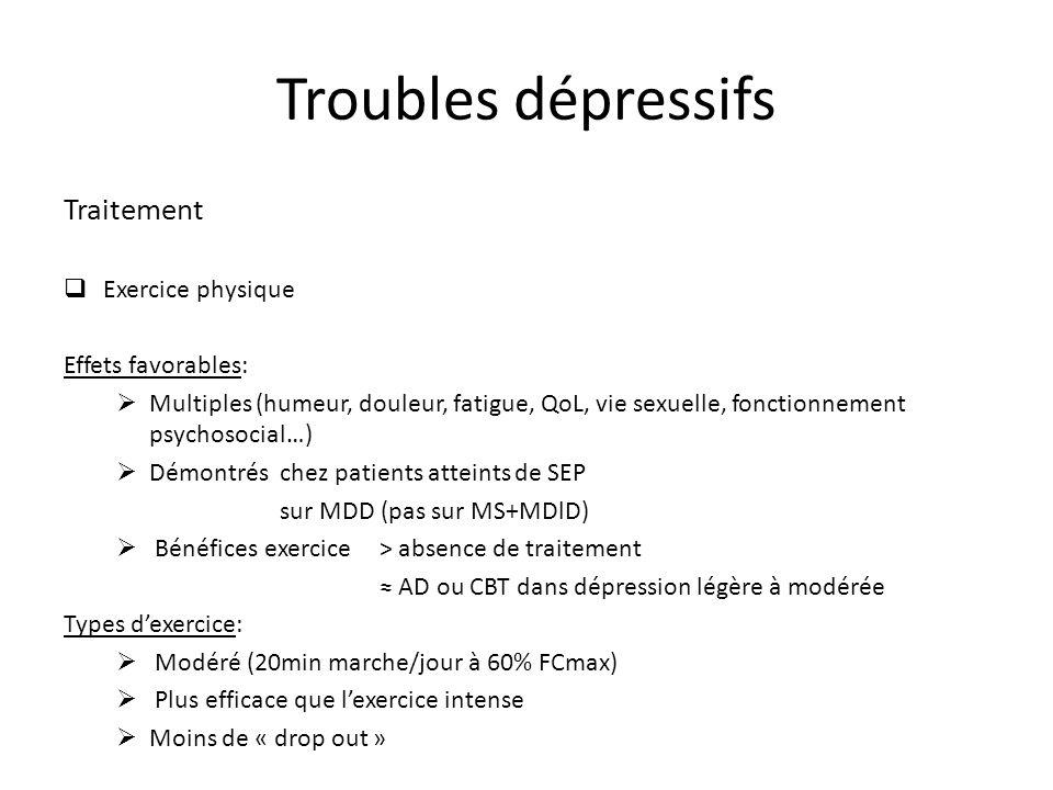 Troubles dépressifs Traitement Exercice physique Effets favorables: Multiples (humeur, douleur, fatigue, QoL, vie sexuelle, fonctionnement psychosocia