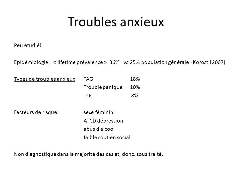 Troubles anxieux Peu étudié! Epidémiologie: « lifetime prévalence » 36% vs 25% population générale (Korostil 2007) Types de troubles anxieux:TAG 18% T