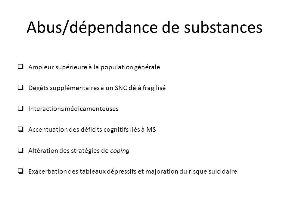 Abus/dépendance de substances Ampleur supérieure à la population générale Dégâts supplémentaires à un SNC déjà fragilisé Interactions médicamenteuses