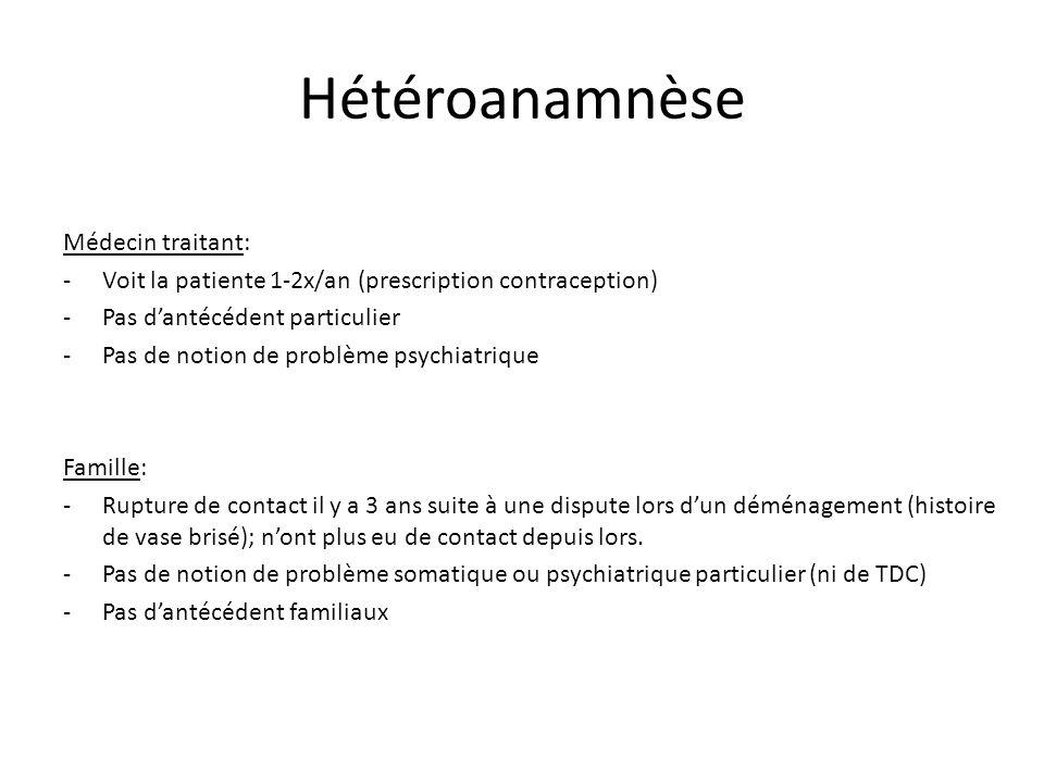 Hétéroanamnèse Médecin traitant: -Voit la patiente 1-2x/an (prescription contraception) -Pas dantécédent particulier -Pas de notion de problème psychi