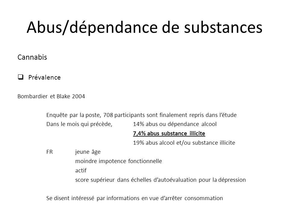 Cannabis Prévalence Bombardier et Blake 2004 Enquête par la poste, 708 participants sont finalement repris dans létude Dans le mois qui précède,14% ab