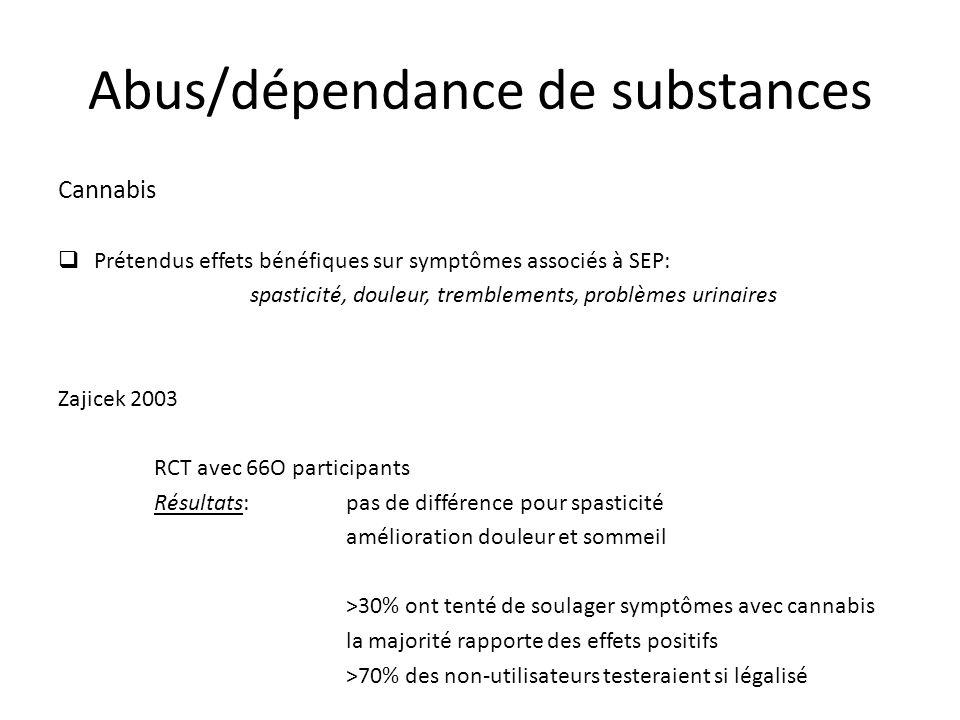 Cannabis Prétendus effets bénéfiques sur symptômes associés à SEP: spasticité, douleur, tremblements, problèmes urinaires Zajicek 2003 RCT avec 66O pa