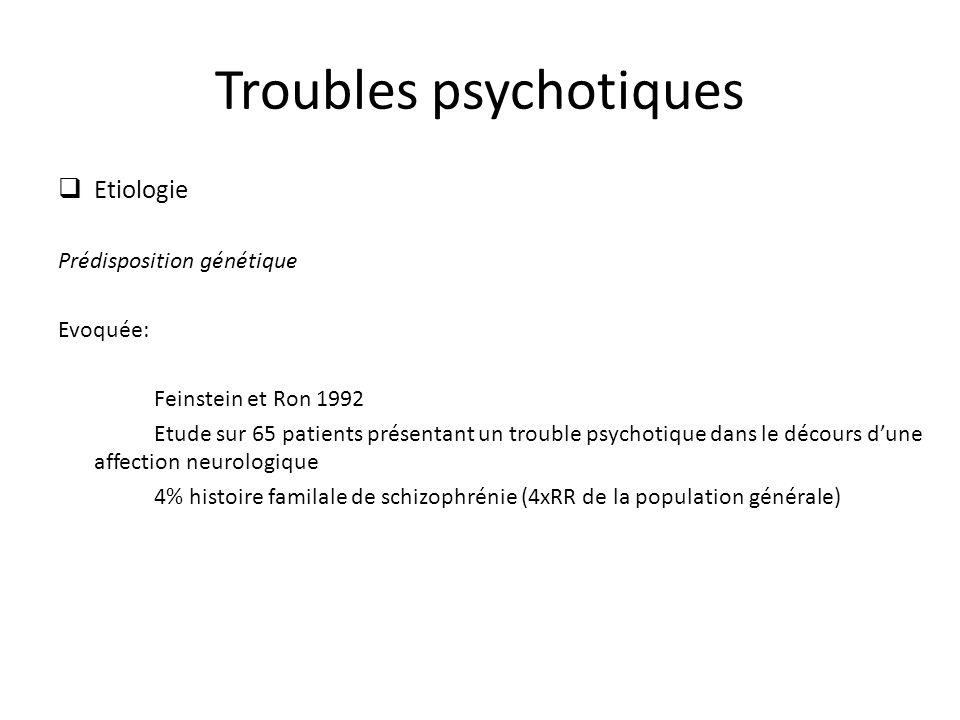 Troubles psychotiques Etiologie Prédisposition génétique Evoquée: Feinstein et Ron 1992 Etude sur 65 patients présentant un trouble psychotique dans l