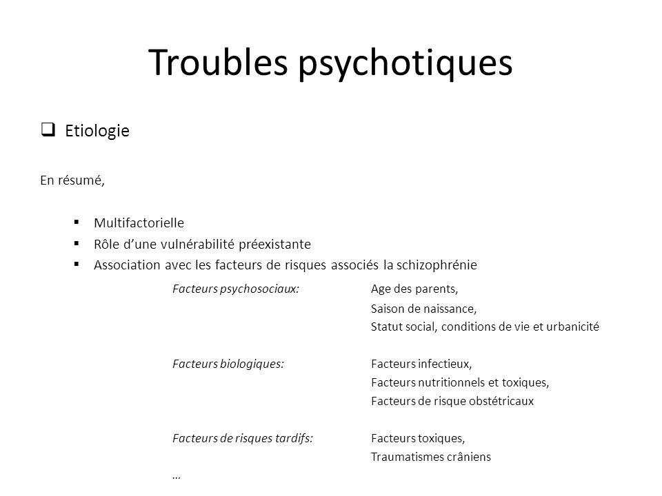Troubles psychotiques Etiologie En résumé, Multifactorielle Rôle dune vulnérabilité préexistante Association avec les facteurs de risques associés la