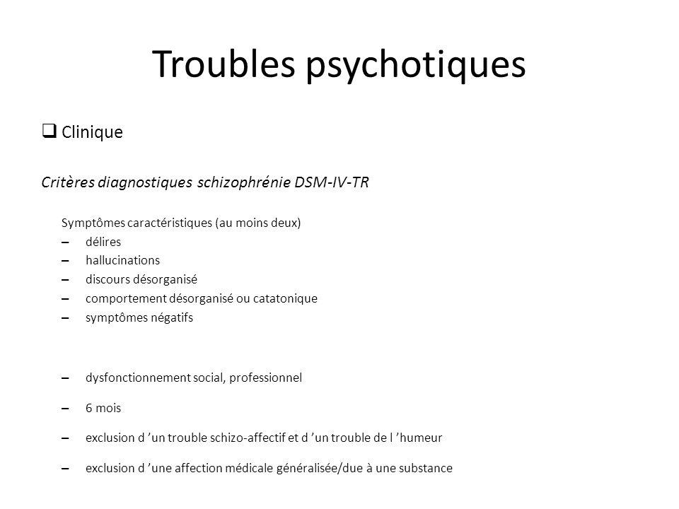 Troubles psychotiques Clinique Critères diagnostiques schizophrénie DSM-IV-TR Symptômes caractéristiques (au moins deux) – délires – hallucinations – discours désorganisé – comportement désorganisé ou catatonique – symptômes négatifs – dysfonctionnement social, professionnel – 6 mois – exclusion d un trouble schizo-affectif et d un trouble de l humeur – exclusion d une affection médicale généralisée/due à une substance