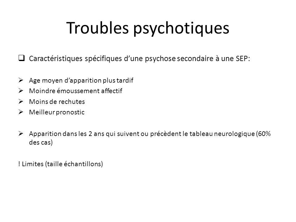 Troubles psychotiques Caractéristiques spécifiques dune psychose secondaire à une SEP: Age moyen dapparition plus tardif Moindre émoussement affectif
