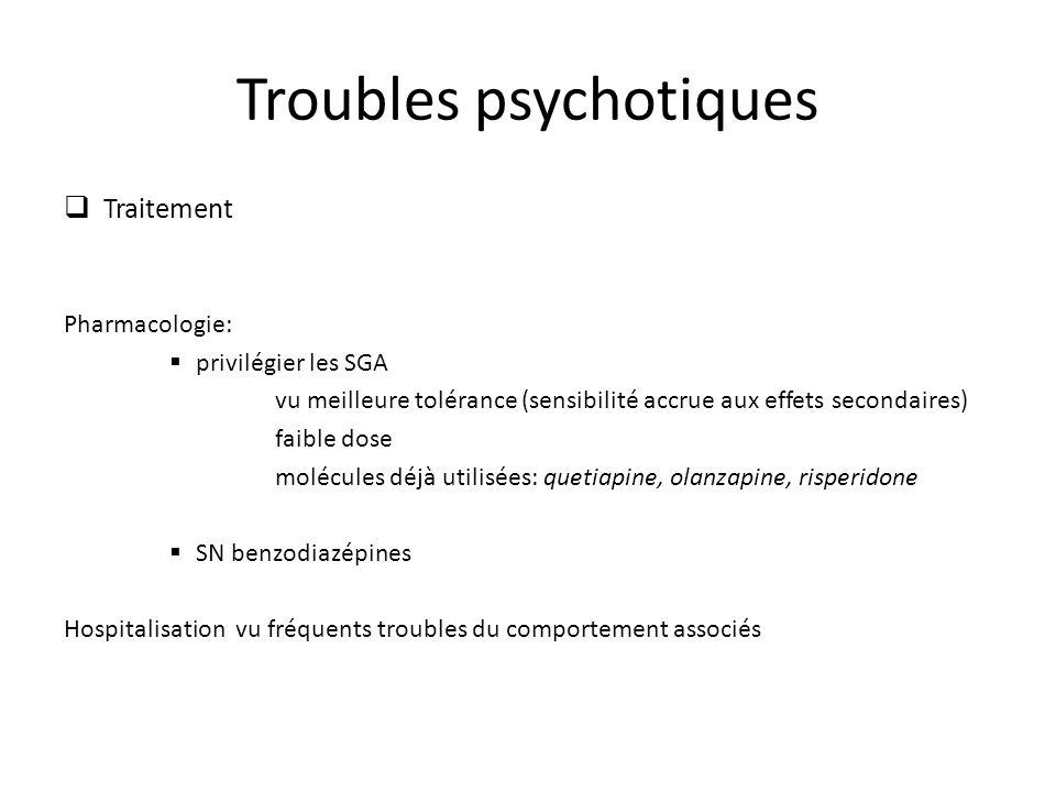 Troubles psychotiques Traitement Pharmacologie: privilégier les SGA vu meilleure tolérance (sensibilité accrue aux effets secondaires) faible dose molécules déjà utilisées: quetiapine, olanzapine, risperidone SN benzodiazépines Hospitalisation vu fréquents troubles du comportement associés