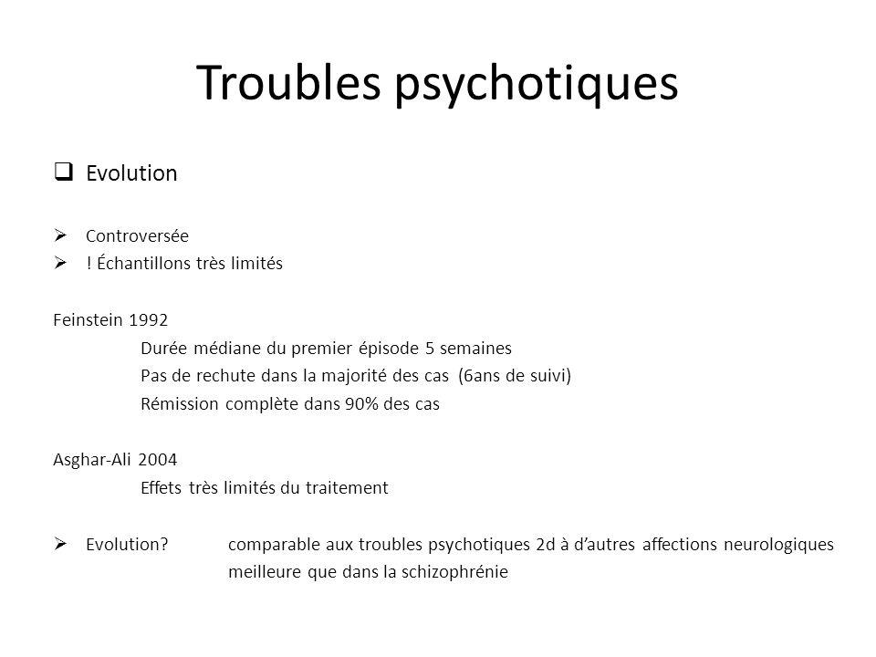 Troubles psychotiques Evolution Controversée ! Échantillons très limités Feinstein 1992 Durée médiane du premier épisode 5 semaines Pas de rechute dan