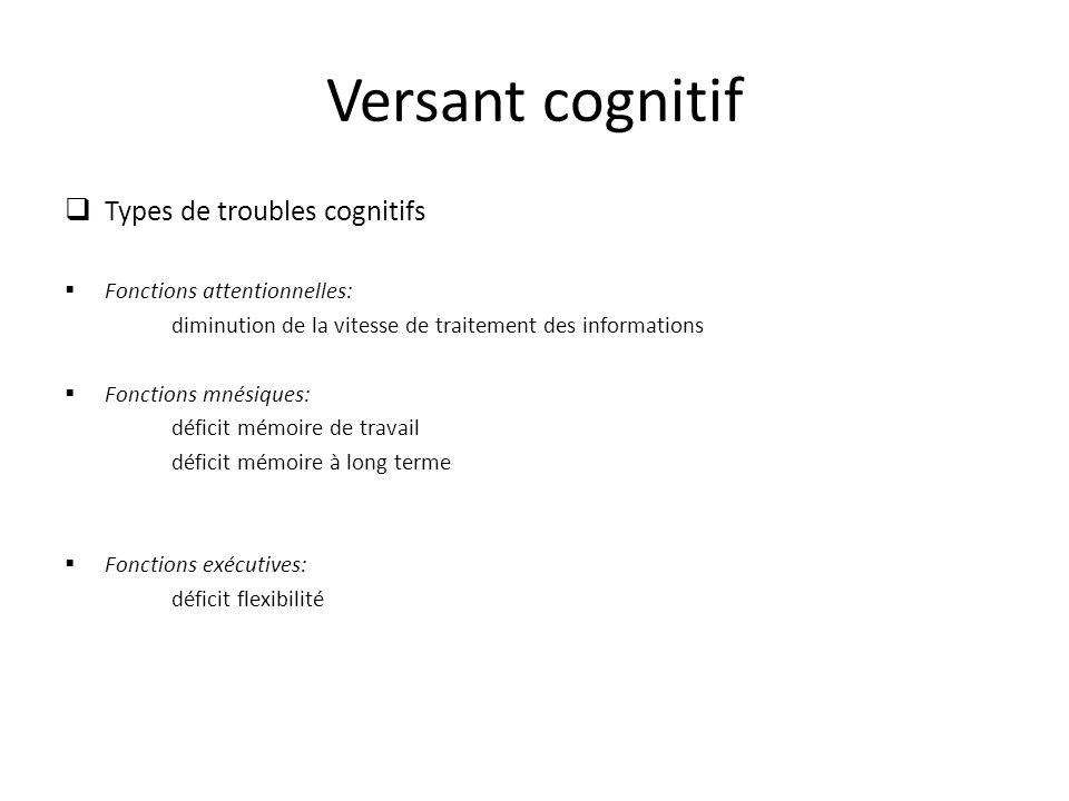 Versant cognitif Types de troubles cognitifs Fonctions attentionnelles: diminution de la vitesse de traitement des informations Fonctions mnésiques: déficit mémoire de travail déficit mémoire à long terme Fonctions exécutives: déficit flexibilité