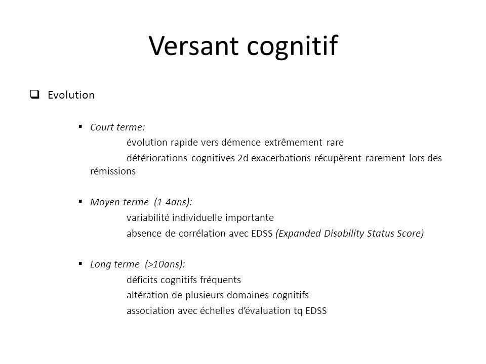 Versant cognitif Evolution Court terme: évolution rapide vers démence extrêmement rare détériorations cognitives 2d exacerbations récupèrent rarement