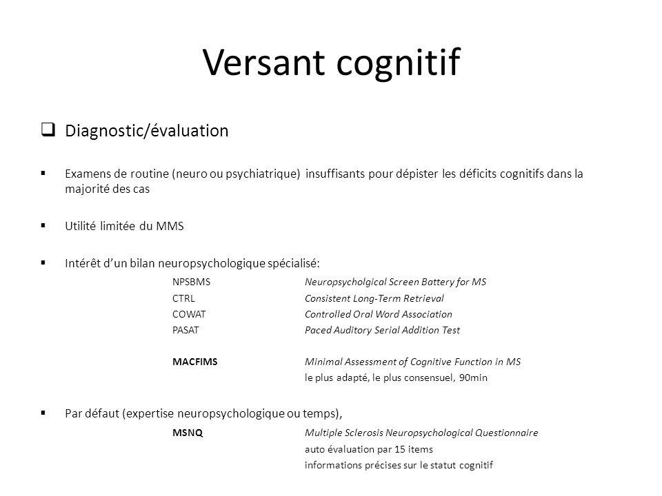 Versant cognitif Diagnostic/évaluation Examens de routine (neuro ou psychiatrique) insuffisants pour dépister les déficits cognitifs dans la majorité