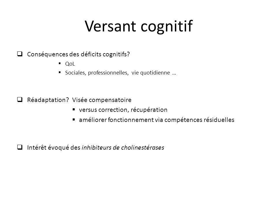 Versant cognitif Conséquences des déficits cognitifs? QoL Sociales, professionnelles, vie quotidienne … Réadaptation?Visée compensatoire versus correc