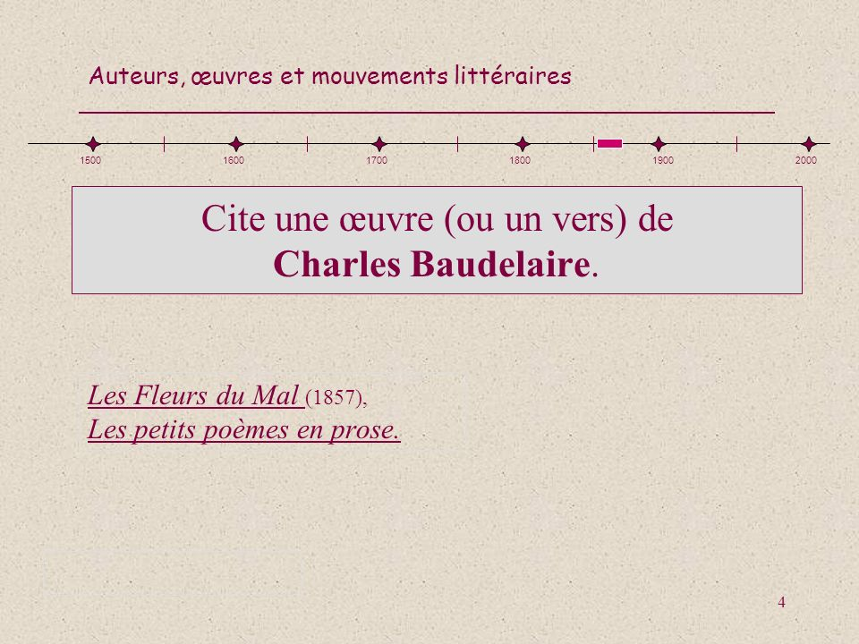 Auteurs, œuvres et mouvements littéraires 15 Nomme lauteur de Jacques le Fataliste (1770) Denis Diderot 150016001700180019002000