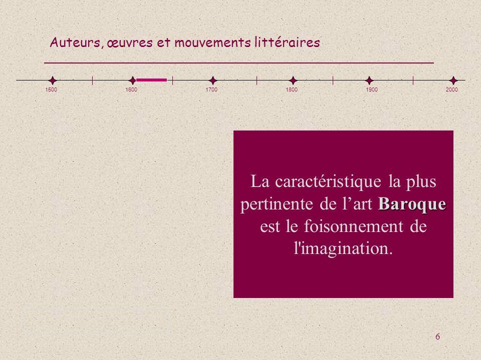 Auteurs, œuvres et mouvements littéraires 77 Situe les cinq éléments sur la ligne du temps : Rimbaud, le surréalisme, Fables, Voltaire, Les Essais 150016001700180019002000