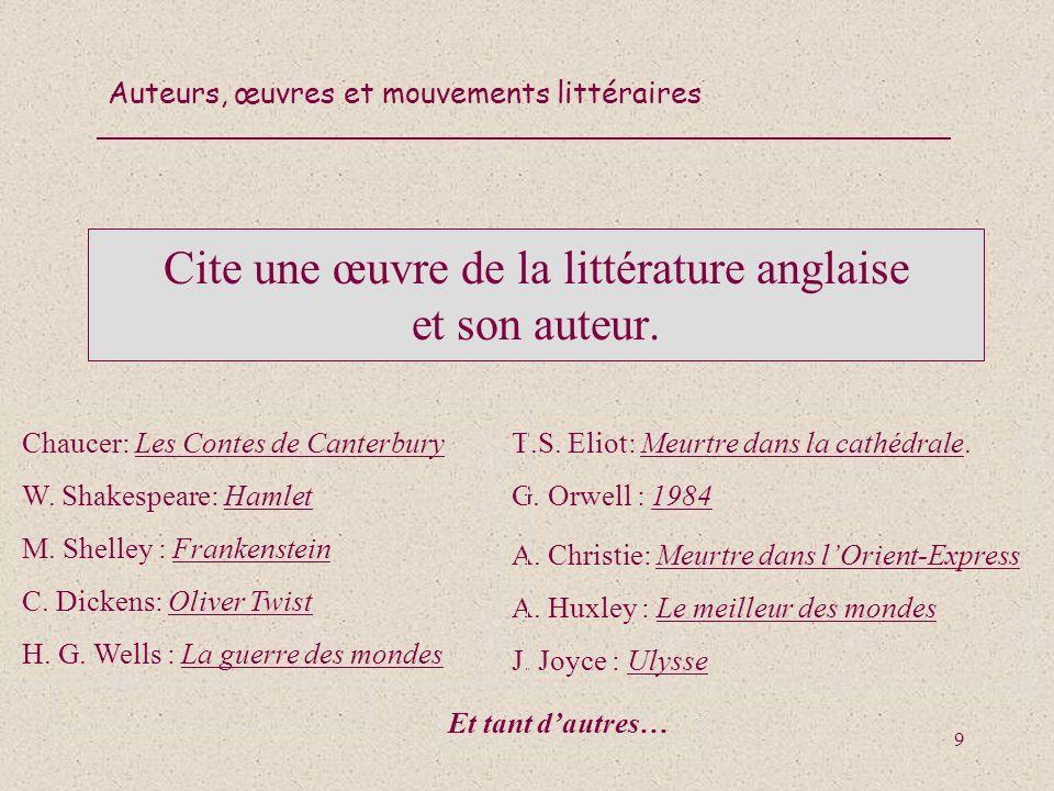 Auteurs, œuvres et mouvements littéraires 30 Cite une œuvre espagnole ou hispano- américaine et son auteur.
