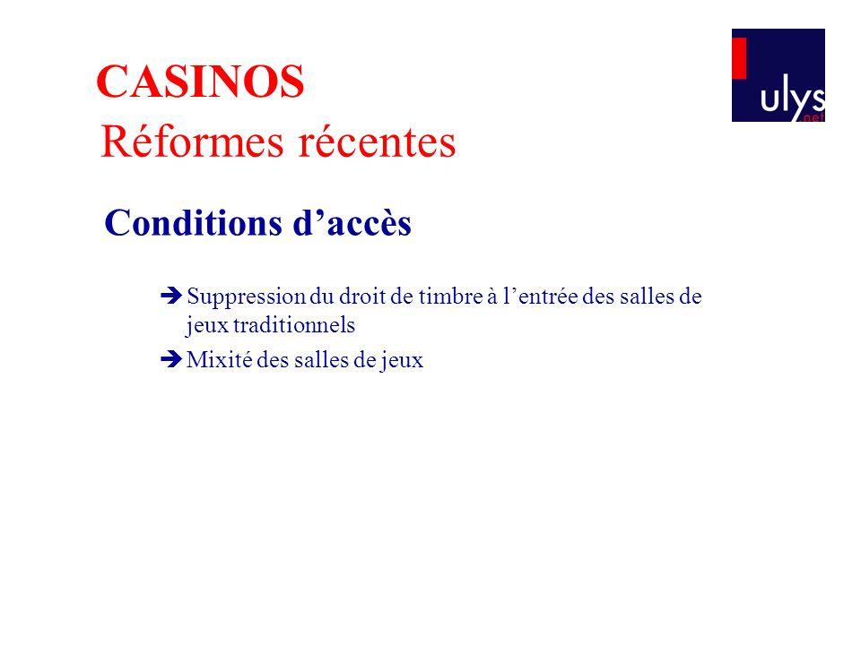 Réformes récentes Conditions daccès Suppression du droit de timbre à lentrée des salles de jeux traditionnels Mixité des salles de jeux CASINOS