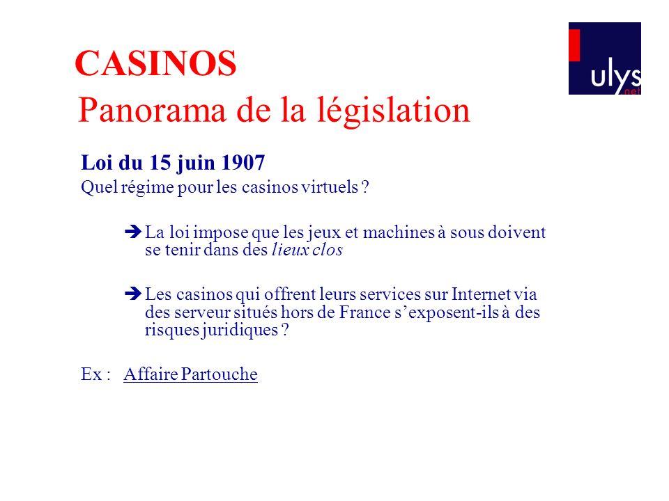 Panorama de la législation Loi du 15 juin 1907 Quel régime pour les casinos virtuels ? La loi impose que les jeux et machines à sous doivent se tenir
