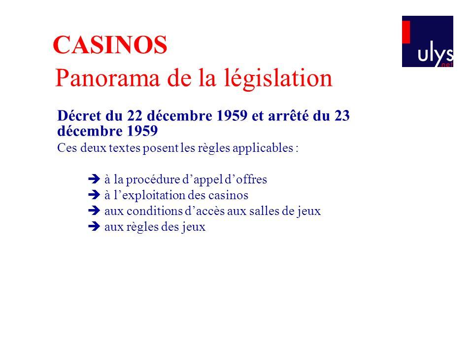 Panorama de la législation Décret du 22 décembre 1959 et arrêté du 23 décembre 1959 Ces deux textes posent les règles applicables : à la procédure dappel doffres à lexploitation des casinos aux conditions daccès aux salles de jeux aux règles des jeux CASINOS
