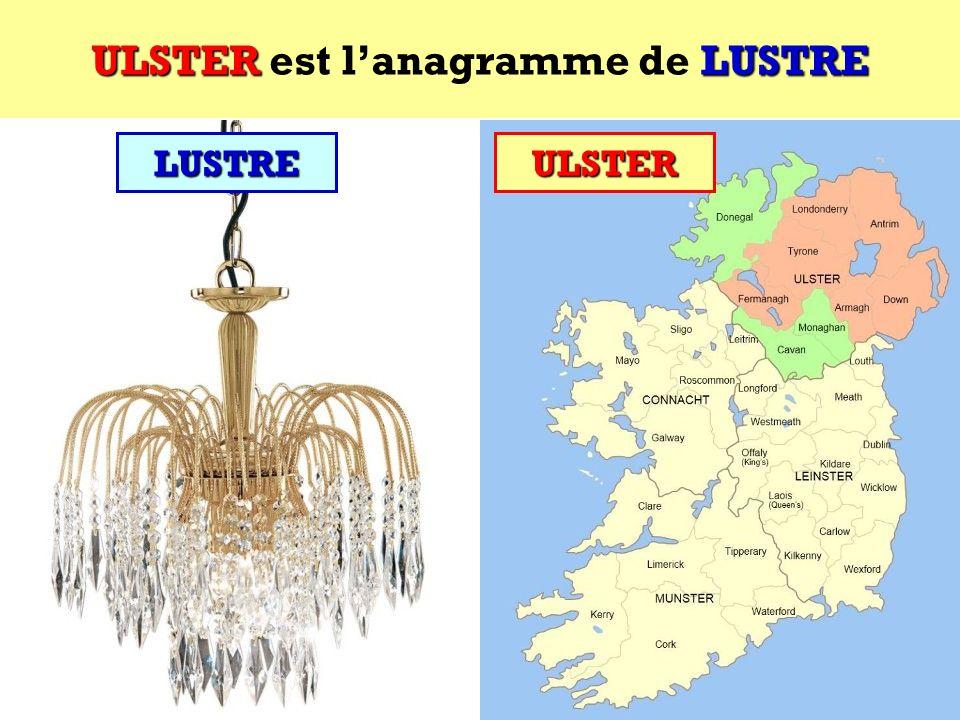 LUSTRE Quel est lanagramme de LUSTRE ? Cest une province irlandaise ! LUSTRE