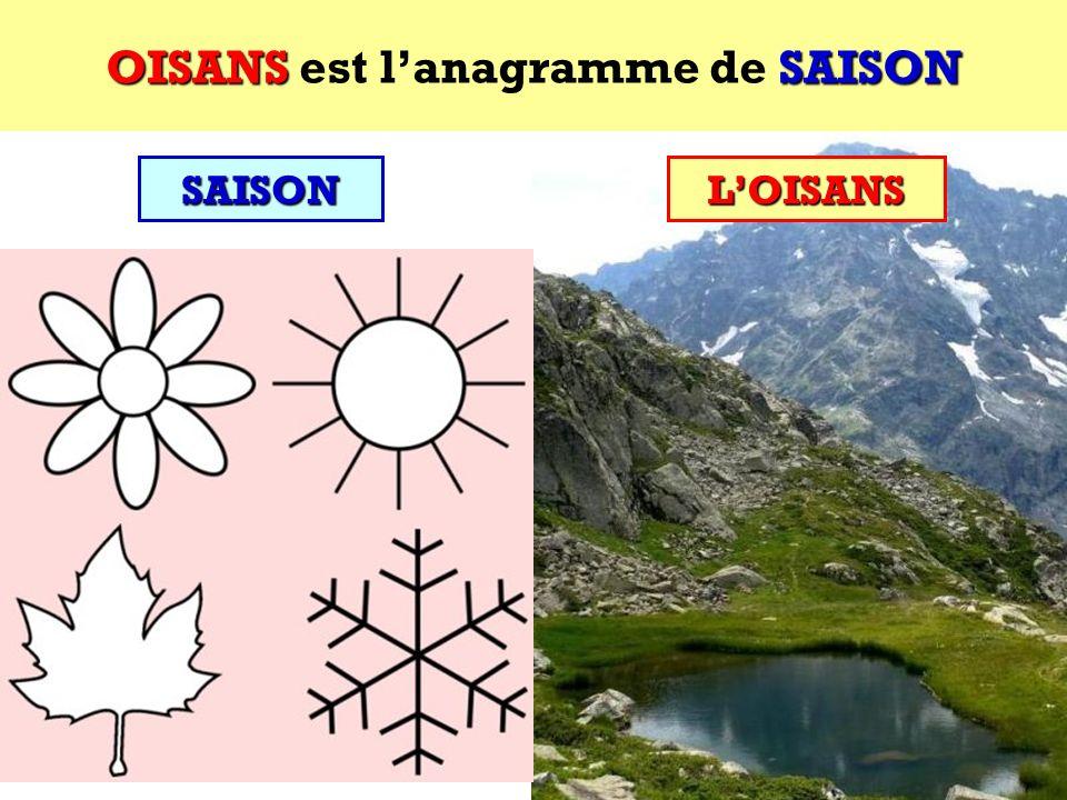 SAISON Quel est lanagramme de SAISON ? Cest une région des Alpes françaises ! SAISON