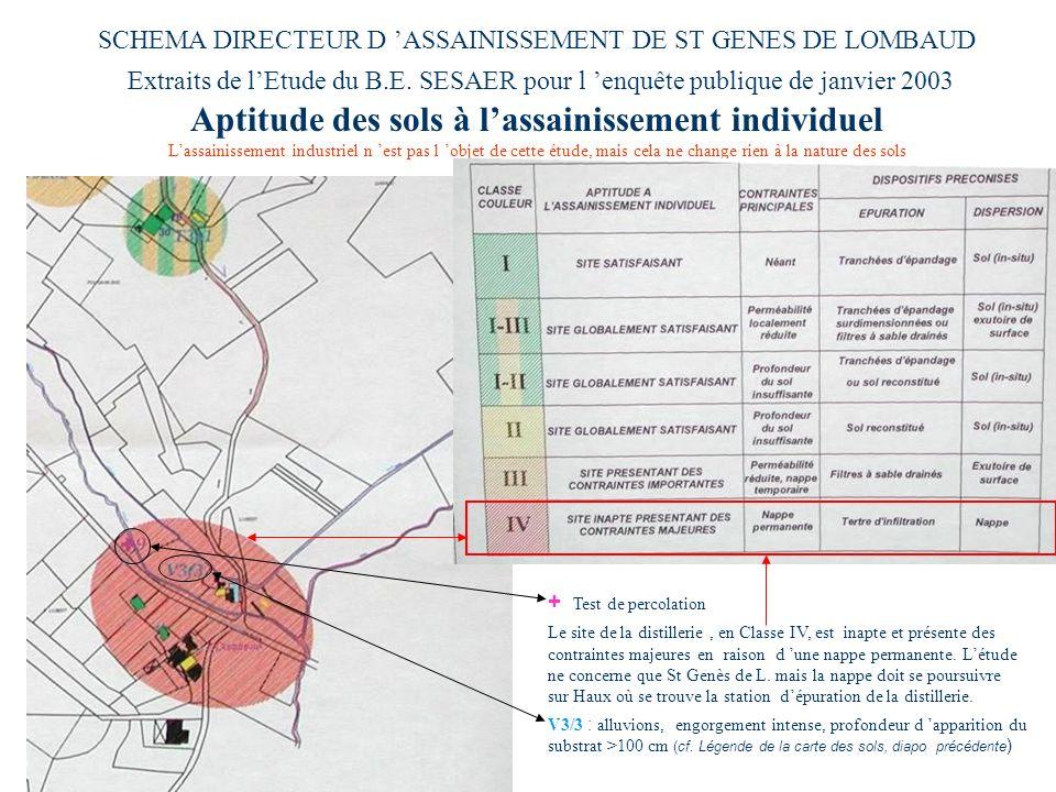 SCHEMA DIRECTEUR D ASSAINISSEMENT DE ST GENES DE LOMBAUD Extraits de lEtude du B.E. SESAER pour l enquête publique de janvier 2003 Aptitude des sols à