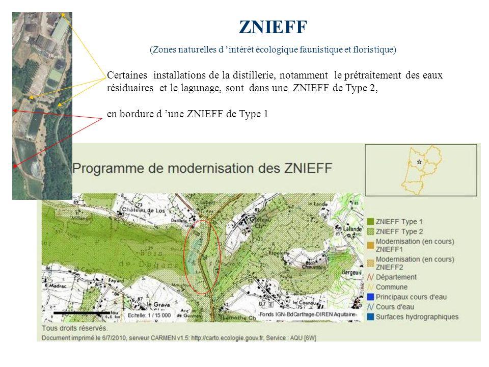 ZNIEFF (Zones naturelles d intérêt écologique faunistique et floristique) Certaines installations de la distillerie, notamment le prétraitement des ea