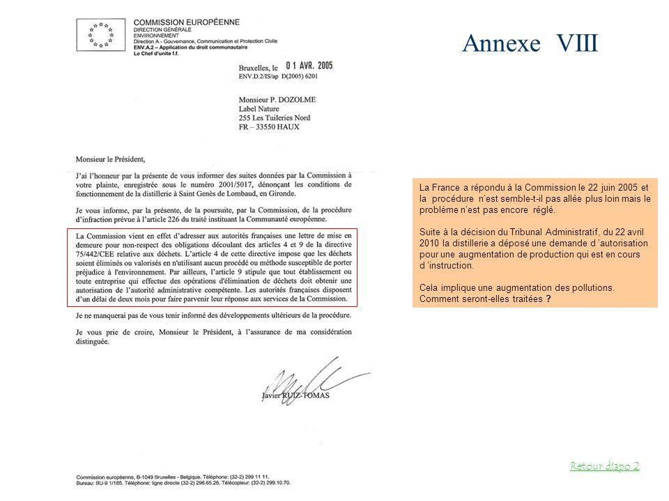 Annexe VIII Retour diapo 2 La France a répondu à la Commission le 22 juin 2005 et la procédure nest semble-t-il pas allée plus loin mais le problème n