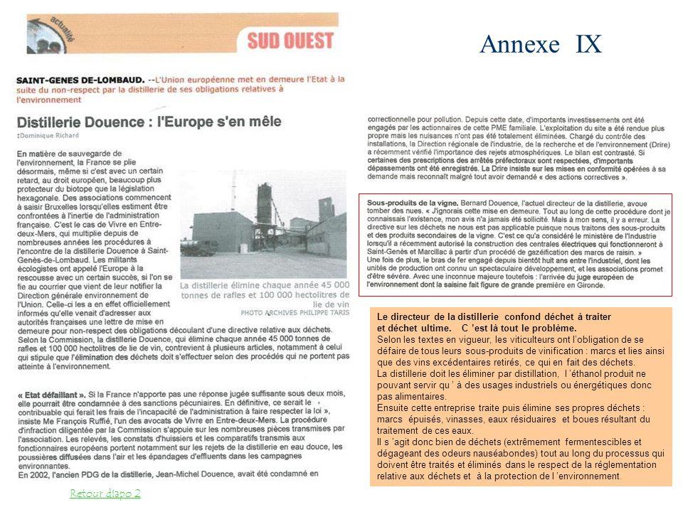 Annexe IX Retour diapo 2 Le directeur de la distillerie confond déchet à traiter et déchet ultime. C est là tout le problème. Selon les textes en vigu