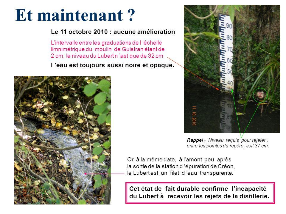 Et maintenant ? Or, à la même date, à lamont peu après la sortie de la station d épuration de Créon, le Lubert est un filet d eau transparente. Le 11