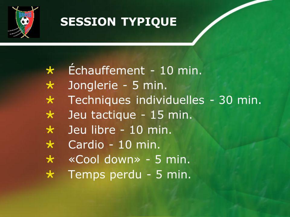 SESSION TYPIQUE Échauffement - 10 min. Jonglerie - 5 min. Techniques individuelles - 30 min. Jeu tactique - 15 min. Jeu libre - 10 min. Cardio - 10 mi