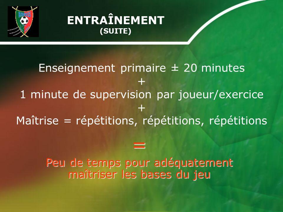 Enseignement primaire ± 20 minutes + 1 minute de supervision par joueur/exercice + Maîtrise = répétitions, répétitions, répétitions ENTRAÎNEMENT (SUITE) = Peu de temps pour adéquatement maîtriser les bases du jeu