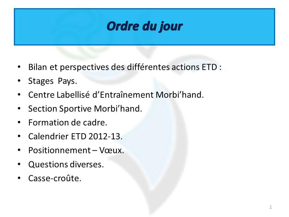 Bilan et perspectives des différentes actions ETD : Stages Pays. Centre Labellisé dEntraînement Morbihand. Section Sportive Morbihand. Formation de ca