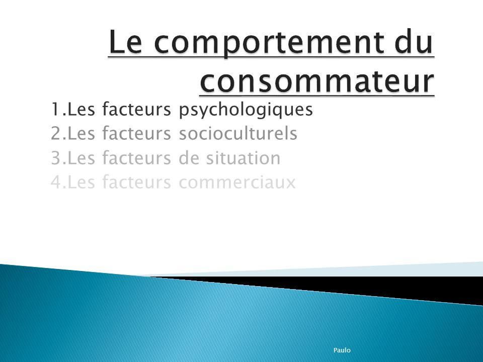 1.Les facteurs psychologiques 2.Les facteurs socioculturels 3.Les facteurs de situation 4.Les facteurs commerciaux Paulo
