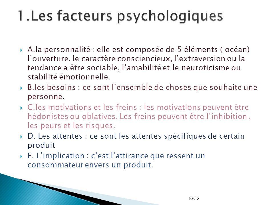 A.la personnalité : elle est composée de 5 éléments ( océan) louverture, le caractère consciencieux, lextraversion ou la tendance a être sociable, lam