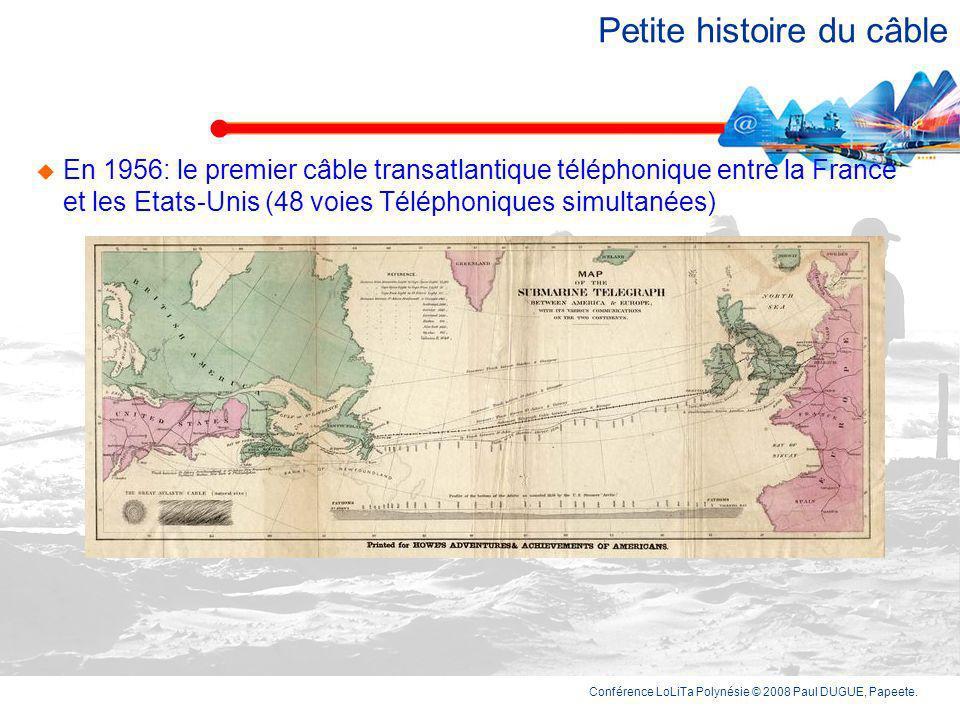 Conférence LoLiTa Polynésie © 2008 Paul DUGUE, Papeete. Le premier câble, cétait en 1850 entre la France et lAngleterre Ci-contre la carte des câbles