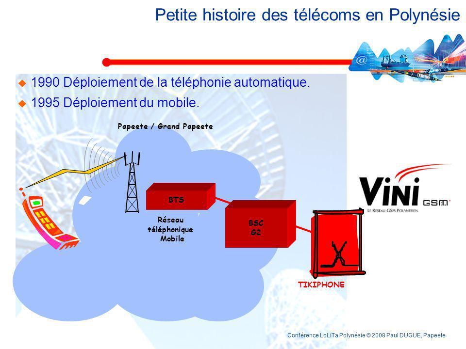 Conférence LoLiTa Polynésie © 2008 Paul DUGUE, Papeete Petite histoire des télécoms en Polynésie 1990 Automatisation des télécommunications dans les a