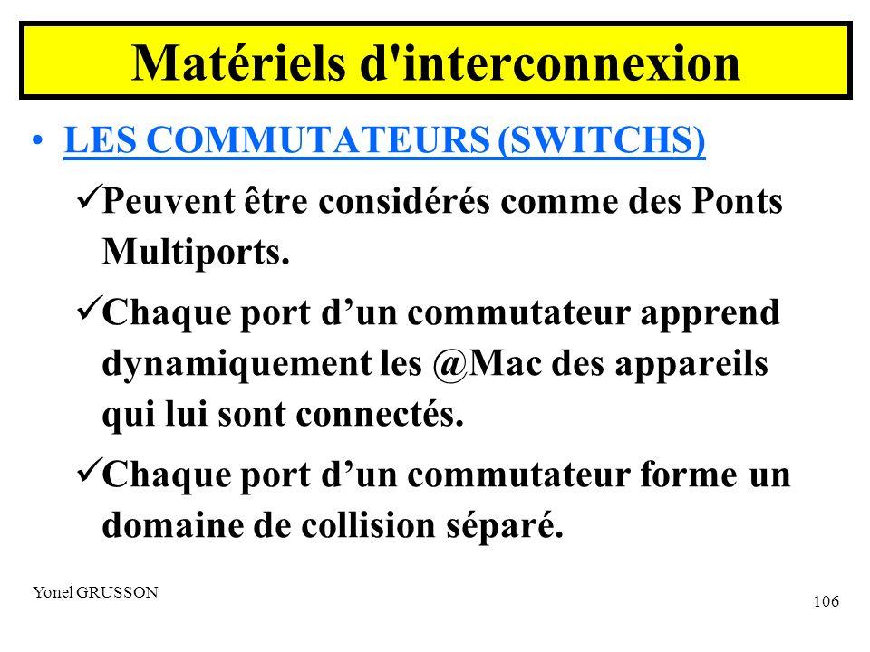 Yonel GRUSSON 106 LES COMMUTATEURS (SWITCHS) Peuvent être considérés comme des Ponts Multiports.