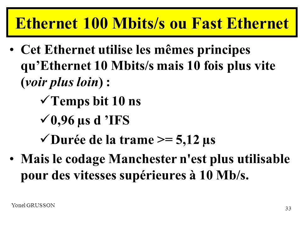 Yonel GRUSSON 33 Ethernet 100 Mbits/s ou Fast Ethernet Cet Ethernet utilise les mêmes principes quEthernet 10 Mbits/s mais 10 fois plus vite (voir plus loin) : Temps bit 10 ns 0,96 µs d IFS Durée de la trame >= 5,12 µs Mais le codage Manchester n est plus utilisable pour des vitesses supérieures à 10 Mb/s.
