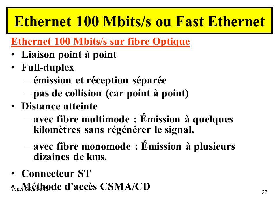 Yonel GRUSSON 37 Ethernet 100 Mbits/s sur fibre Optique Liaison point à point Full-duplex –émission et réception séparée –pas de collision (car point à point) Distance atteinte –avec fibre multimode : Émission à quelques kilomètres sans régénérer le signal.