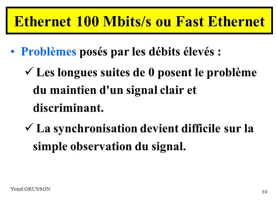 Yonel GRUSSON 39 Problèmes posés par les débits élevés : Les longues suites de 0 posent le problème du maintien d un signal clair et discriminant.