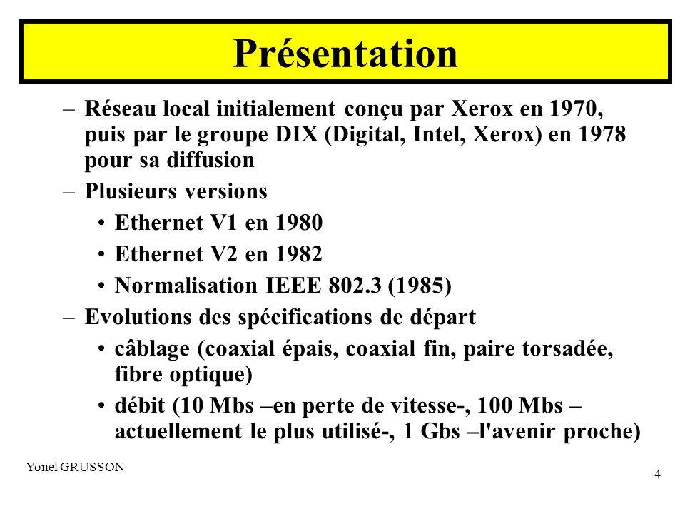 Yonel GRUSSON 4 –Réseau local initialement conçu par Xerox en 1970, puis par le groupe DIX (Digital, Intel, Xerox) en 1978 pour sa diffusion –Plusieurs versions Ethernet V1 en 1980 Ethernet V2 en 1982 Normalisation IEEE 802.3 (1985) –Evolutions des spécifications de départ câblage (coaxial épais, coaxial fin, paire torsadée, fibre optique) débit (10 Mbs –en perte de vitesse-, 100 Mbs – actuellement le plus utilisé-, 1 Gbs –l avenir proche) Présentation
