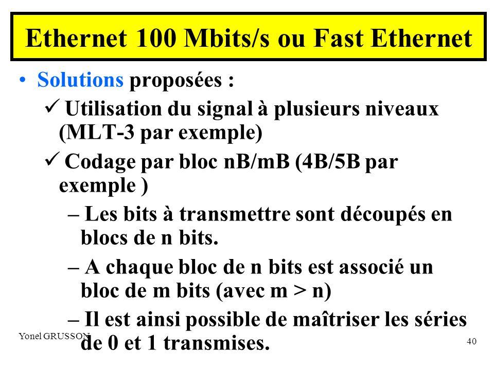 Yonel GRUSSON 40 Solutions proposées : Utilisation du signal à plusieurs niveaux (MLT-3 par exemple) Codage par bloc nB/mB (4B/5B par exemple ) – Les bits à transmettre sont découpés en blocs de n bits.