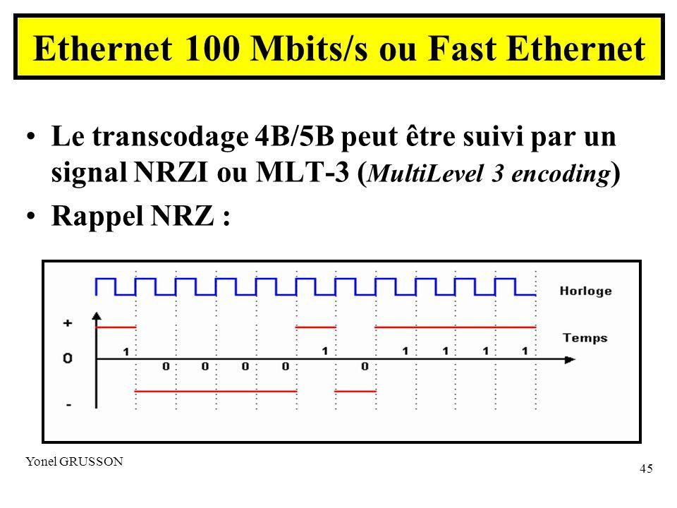 Yonel GRUSSON 45 Le transcodage 4B/5B peut être suivi par un signal NRZI ou MLT-3 ( MultiLevel 3 encoding ) Rappel NRZ : Ethernet 100 Mbits/s ou Fast Ethernet