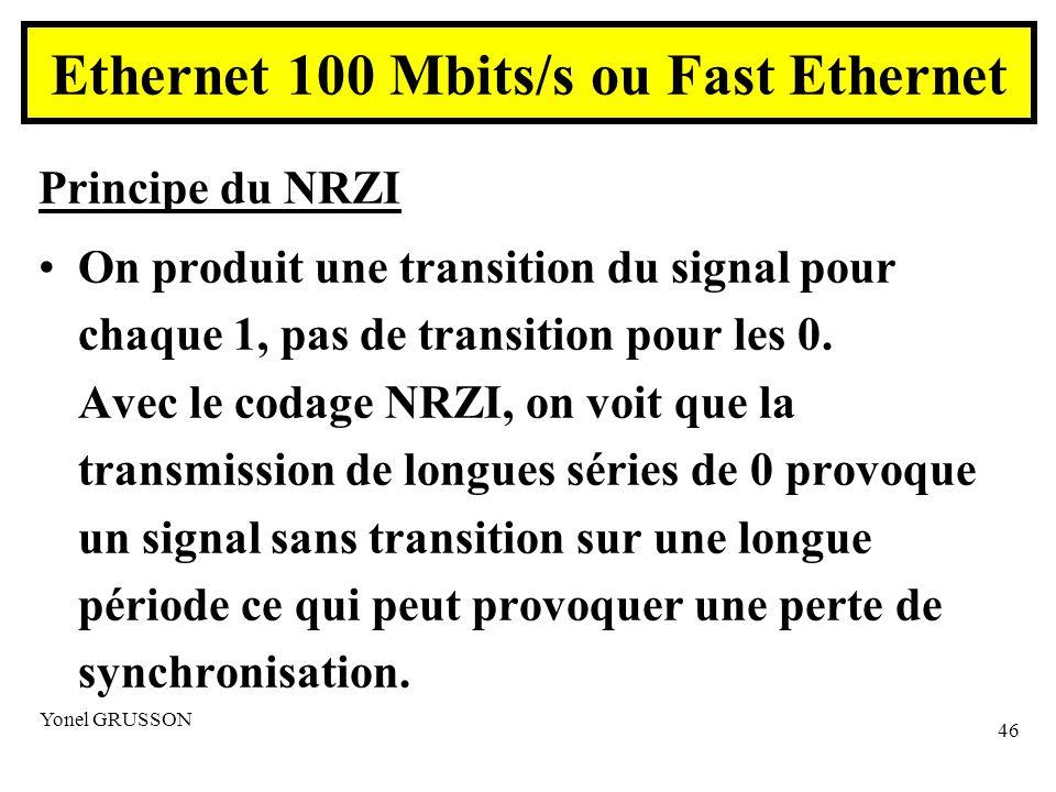 Yonel GRUSSON 46 Principe du NRZI On produit une transition du signal pour chaque 1, pas de transition pour les 0.
