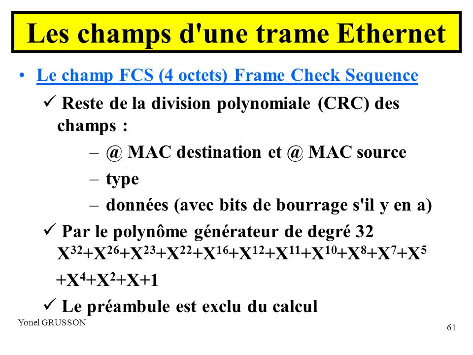 Yonel GRUSSON 61 Le champ FCS (4 octets) Frame Check Sequence Reste de la division polynomiale (CRC) des champs : – @ MAC destination et @ MAC source