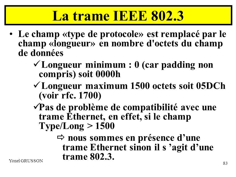 Yonel GRUSSON 83 La trame IEEE 802.3 Le champ «type de protocole» est remplacé par le champ «longueur» en nombre d octets du champ de données Longueur minimum : 0 (car padding non compris) soit 0000h Longueur maximum 1500 octets soit 05DCh (voir rfc.