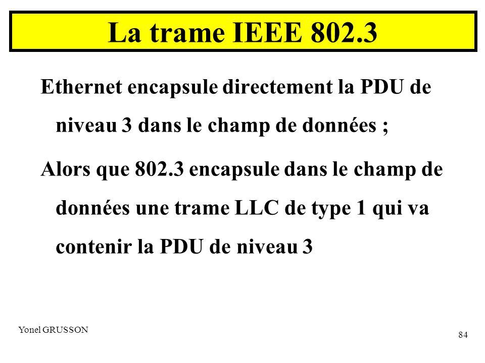 Yonel GRUSSON 84 Ethernet encapsule directement la PDU de niveau 3 dans le champ de données ; Alors que 802.3 encapsule dans le champ de données une trame LLC de type 1 qui va contenir la PDU de niveau 3 La trame IEEE 802.3