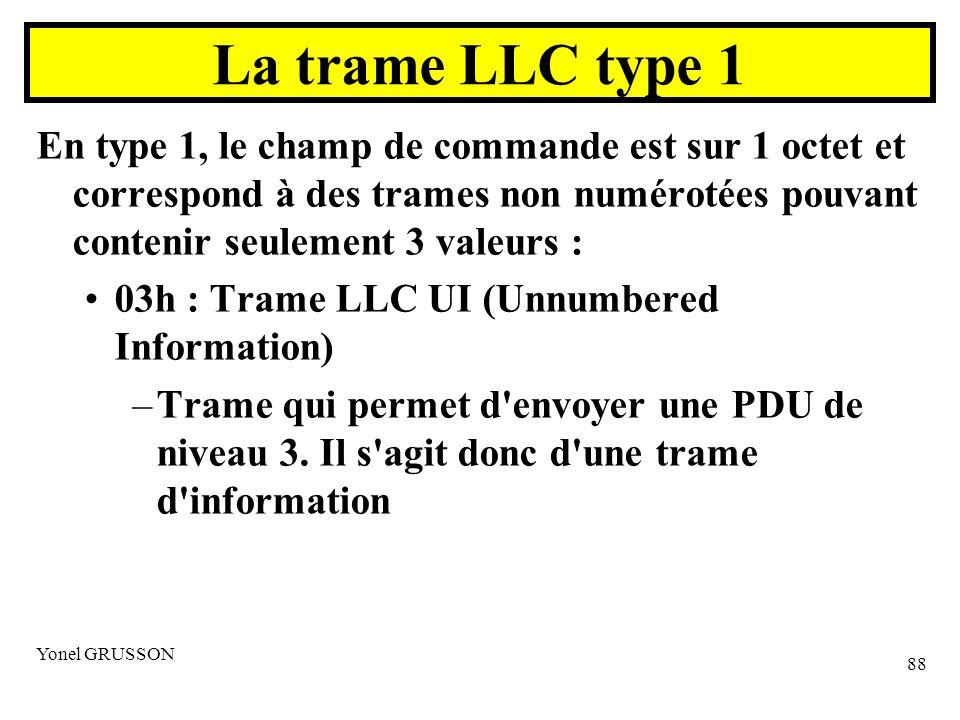Yonel GRUSSON 88 En type 1, le champ de commande est sur 1 octet et correspond à des trames non numérotées pouvant contenir seulement 3 valeurs : 03h : Trame LLC UI (Unnumbered Information) –Trame qui permet d envoyer une PDU de niveau 3.